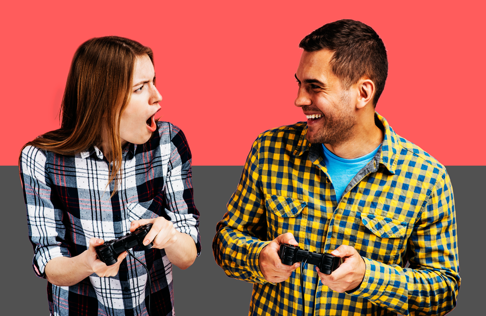 Adults Playing Video Games on Xbox One or Play Station