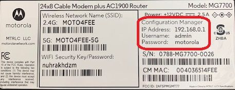 Motorola Modem MG7700 default IP Address and Password