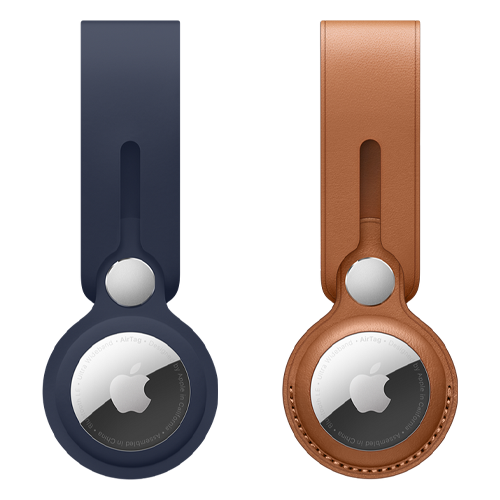 The Official Apple AirTag Loop in Deep Navy and Brown Leather