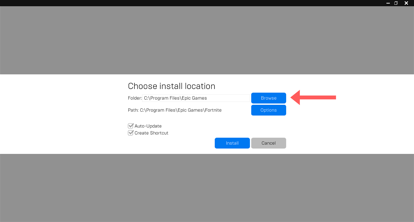 Click Browse on Choose install location